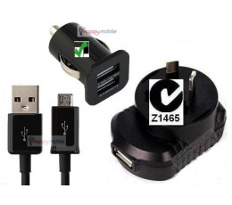 WALL Charger + CAR Charger +  micro usb CABLE for Samsung Sony Moto Lg Vodafone