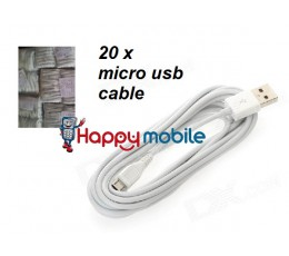 20 X MICRO USB DATA SYNC CABLE [WHITE ONLY] samsung S2 CABLE
