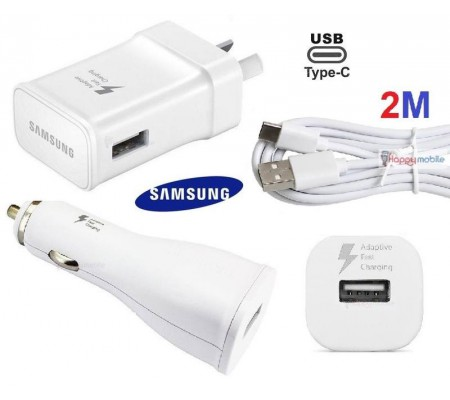 Samsung WALL Charger + CAR Charger + 2M TYPE-C Cable S9 S8 A7 Note 8/9 2 meter