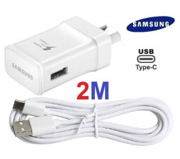 Samsung WALL Charger + 2M TYPE-C Cable S9 S8 A3 Note 8/9 USB-C 2 meter