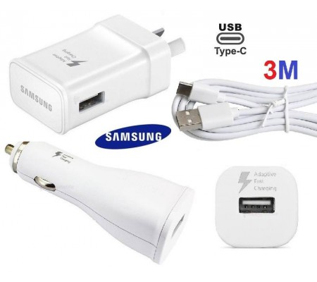 Samsung WALL Charger + CAR Charger + 3M TYPE-C Cable S9 S8 A5 Note 8/9 3 meter