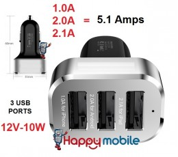 5.1A 10W 12V - 3 USB Ports - Car Charger Moto HTC Nokia Samsung TAB Note