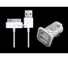 iPhone 4 4S 3GS iPad 3 2 iPod Touch 5th Car Charger dual usb port + 30 PIN Cable