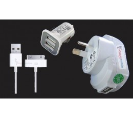 iPhone 4s 4g 3gs 2g Usb Wall Charger + Usb Car Charger + Usb Cable iPhone