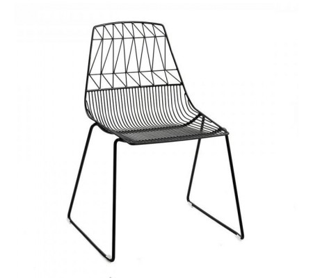 Wire Chair Black Stackable Cafe Wire Dining Chair - Holds 300kg