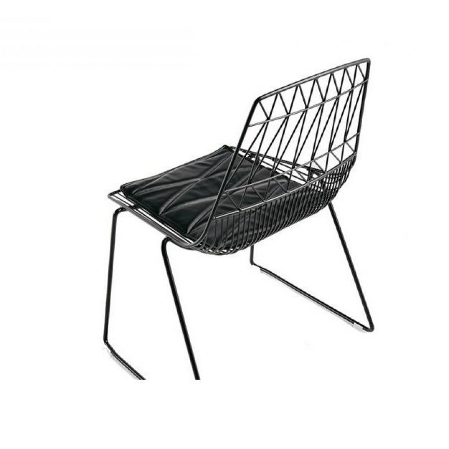 Fabulous Wire Chair Black Stackable Cafe Wire Dining Chair - Holds 300kg DO78