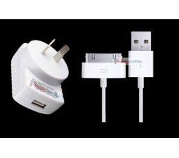 iPhone 4 iPhone 4S iPhone 3gs iPad 1 2 3 usb Wall Charger + Genuine USB Cable 30pin ios10