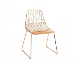 Wire Chair Copper Stackable Cafe Electroplated Wire Dining Chair - Holds 300kg