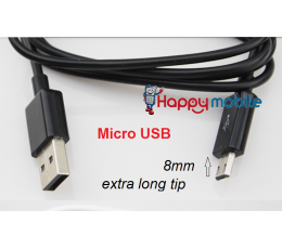 Special 8mm Extra Long Tip Micro USB Cable Extended microUSB Cable Tablet Tab