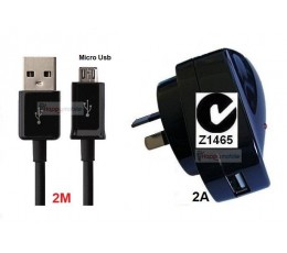 Samsung Galaxy Wall Charger J1 J2 J3 J5 J7 S4 S5 S6 S7 + Micro usb Cable 2 METRE
