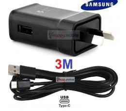 Samsung WALL Charger + 3M USB-C Type-C Cable S9 S8 A8 C9 Note 8/9 3 meter