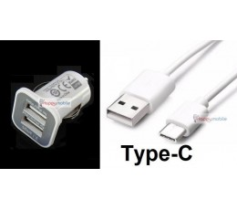 Type-C Car Charger + Cable 1M [ usb c usb 3.1 type c ] 3.1A White
