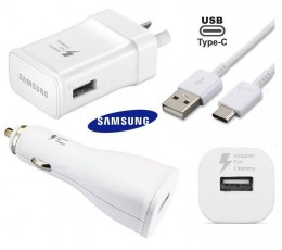 Samsung WALL Charger + CAR Charger + USB-C Cable S9 S8 A8 C9 Note 8/9