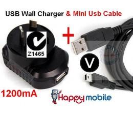 usb Wall Charger + mini USB Cable htc motorola u6 k3 google G1 miniUSB mini-USB