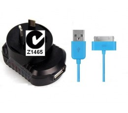 iPhone 4s 4 iPhone 3 3gs iPad 2 Wall Charger + 30pin Cable [Blue CABLE ONLY] ios9.1 max