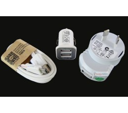 Samsung Wall Charger + Car Charger +Micro Usb Cable J1 J2 J5 S3 S4 mini S4