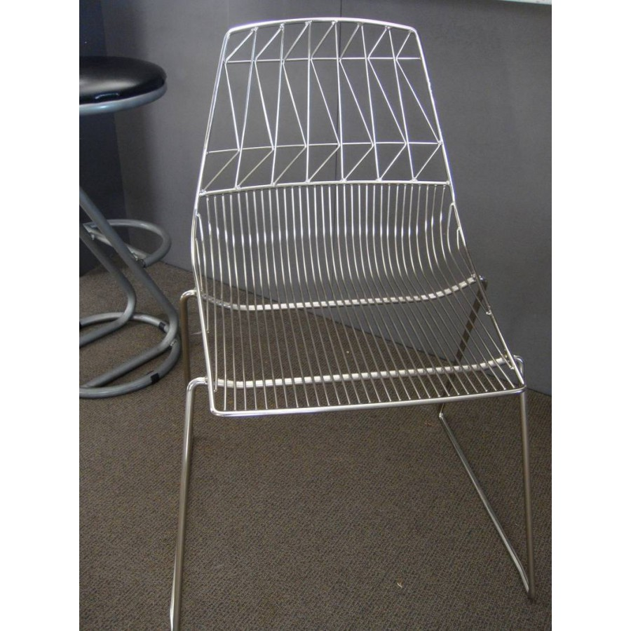 Wire Chair Chrome Stackable Cafe Electroplated Wire Dining Chair ...