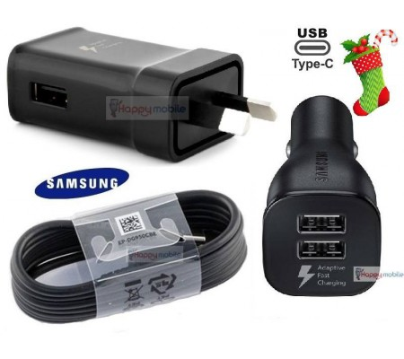 Samsung WALL Charger + CAR Charger + USB-C Type-C Cable S9 S8 A8 A7 Note 9 8 S9+